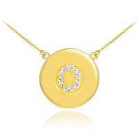 "14k Gold Letter ""O"" Initial Diamond Disc Necklace"