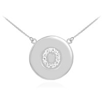 "14k White Gold Letter ""O"" Initial Diamond Disc Necklace"