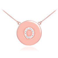"14k Rose Gold Letter ""O"" Initial Diamond Disc Necklace"