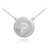 """14k White Gold Letter """"P"""" Initial Diamond Disc Necklace"""