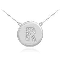 "14k White Gold Letter ""R"" Initial Diamond Disc Necklace"