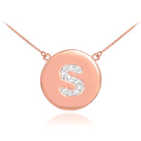 """14k Rose Gold Letter """"S"""" Initial Diamond Disc Necklace"""