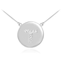 "14k White Gold Letter ""T"" Initial Diamond Disc Necklace"