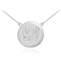 "14k White Gold Letter ""W"" Initial Diamond Disc Necklace"