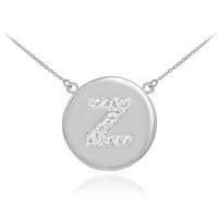 "14k White Gold Letter ""Z"" Initial Diamond Disc Necklace"