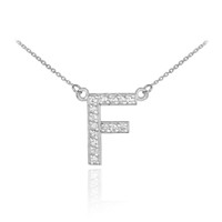 "14k White Gold Letter ""F"" Diamond Initial Necklace"