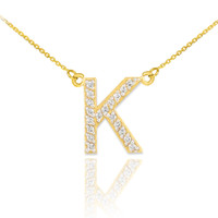 "14k Gold Letter ""K"" Diamond Initial Necklace"
