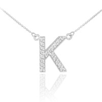 "14k White Gold Letter ""K"" Diamond Initial Necklace"