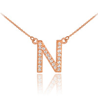 "14k Rose Gold Letter ""N"" Diamond Initial Monogram Necklace"