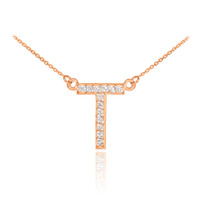 "14k Rose Gold Letter ""T"" Diamond Initial Necklace"