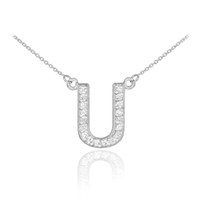 "14k White Gold Letter ""U"" Diamond Initial Necklace"