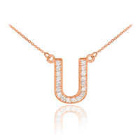 "14k Rose Gold Letter ""U"" Diamond Initial Necklace"