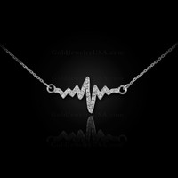 14K White Gold Heartbeat Diamond Necklace