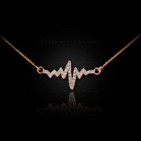14K Rose Gold Heartbeat Diamond Necklace