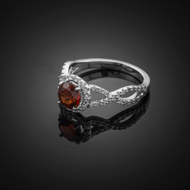 White Gold Garnet Birthstone Infinity Ring with Diamonds