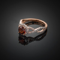 Rose Gold Garnet Birthstone Infinity Ring with Diamonds