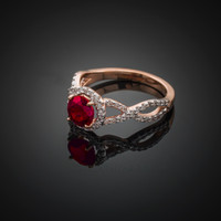 Rose Gold Ruby Birthstone Infinity Ring with Diamonds