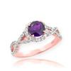 Rose Gold Amethyst Birthstone Infinity Ring with Diamonds