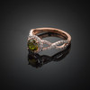 Rose Gold Peridot Birthstone Infinity Ring with Diamonds