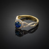 Gold Blue Sapphire Infinity Ring with Diamonds