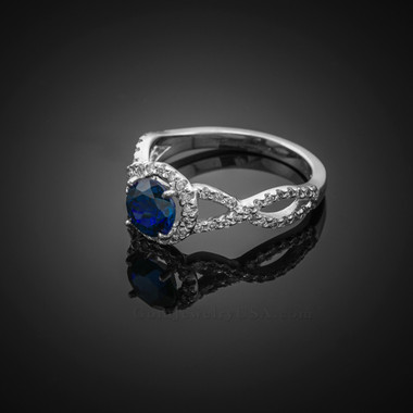 White Gold Blue Sapphire Infinity Ring with Diamonds