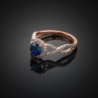Rose Gold Blue Sapphire Infinity Ring with Diamonds