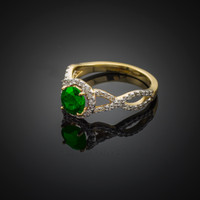 Emerald Gold Engagement Ring with Diamond Infinity Band