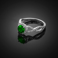 White Gold Emerald Diamond Infinity Engagement Ring