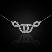 14k White Gold Double Infinity Necklace with Diamonds