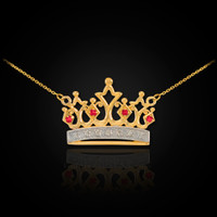 14K Gold Quinceanera Crown Necklace with Ruby & Diamonds