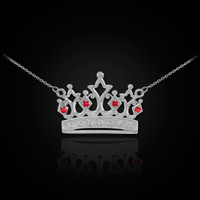 14K White Gold Quinceanera Crown Necklace with Ruby & Diamonds