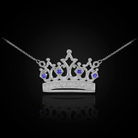 White Gold Crown Necklace with Blue Sapphires & Diamonds