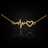 14K Gold Heartbeat Pulse & Heart Necklace