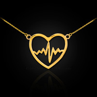 14k Gold Open Heart Beat Pulse Necklace