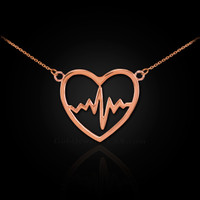 14k Rose Gold Open Heart Beat Pulse Necklace