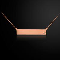 14K Rose Gold Name Bar Diamond Necklace