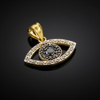 Black & Clear Diamond Evil Eye Gold Pendant