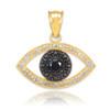 Black & Clear Diamond Evil Eye Gold Pendant