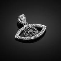 Black & Clear Diamond Evil Eye White Gold Pendant