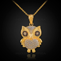 Gold Owl Charm Pendant  Necklace with Diamonds