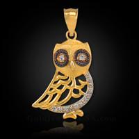 Gold Bohemian Owl Diamond Charm Pendant