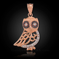 Rose Gold Bohemian Owl Diamond Pendant