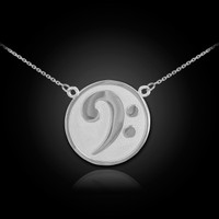 White Gold Bass Clef Necklace
