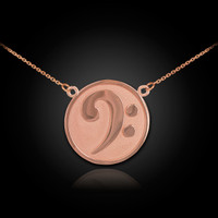 Rose Gold Bass Clef Necklace