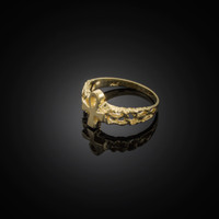Gold Egyptian Ankh Cross Nugget Ring