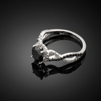 White Gold Black Diamond Infinity Engagement Ring