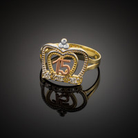Multi-Tone Gold Quinceanera Crown CZ Ring