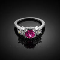 White Gold Alexandrite Diamond Engagement Ring