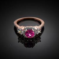 Rose Gold Alexandrite Diamond Engagement Ring