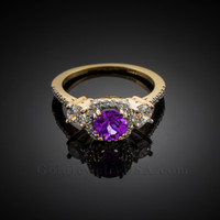 Gold Amethyst Diamond Engagement Ring